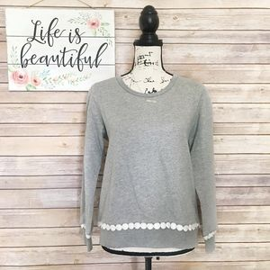 NWT J. Crew Gray Sweater w/ White Trim Size Small
